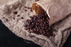 Coffee beans woke up from package Stock Photography