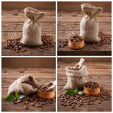 Coffee beans on wood background, coffee beans in bag and green leaf. Coffee Collage Stock Photo