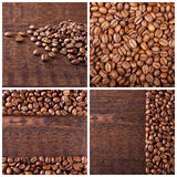 Coffee beans on wood background. Coffee Collage Royalty Free Stock Photography