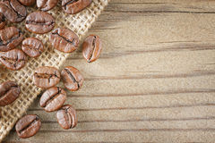 Coffee beans wood Royalty Free Stock Image