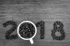 2018 coffee beans on wood Stock Photos