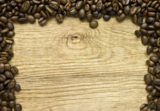 Coffee Beans on Wood Frame Royalty Free Stock Images