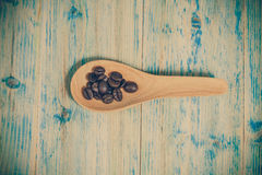 Coffee  beans on wood spoon. Background Royalty Free Stock Photography