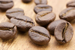 Coffee beans. On wooden background Stock Image