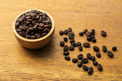 Coffee beans. On wooden background, top view Stock Photo