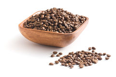 Coffee beans in wooden bowl Royalty Free Stock Image