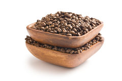 Coffee beans in wooden bowl Stock Photos