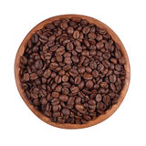 Coffee beans in a wooden bowl  on a white background Royalty Free Stock Photo