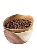 Coffee beans in a wooden Cup Royalty Free Stock Images