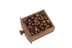 Coffee beans in wooden drawer Stock Images