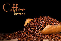 Coffee beans on wooden ladle Stock Image