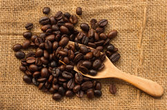 Coffee beans in wooden scoop Stock Photo