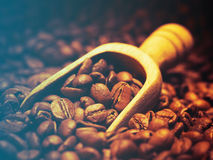 Coffee beans and wooden scoop Stock Photo