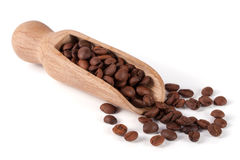 Coffee beans in a wooden scoop  on white background.  Royalty Free Stock Image