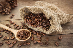 Coffee beans on wooden spoon and bag Stock Image