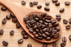 Coffee beans in a wooden spoon Royalty Free Stock Photo