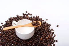 Coffee beans in wooden spoon on a coffee cup ,surrounding with coffee beans. On white background Stock Image