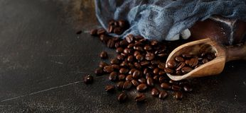Coffee beans and a wooden spoon  on a dark background Stock Images