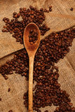 Coffee beans and wooden spoon Royalty Free Stock Photography