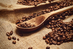 Coffee beans and wooden spoon Stock Photography
