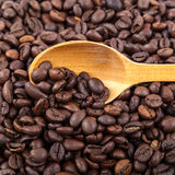 Coffee beans and wooden spoon on white background. Coffee beans and wooden spoon  on white background Stock Image