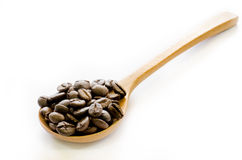 Coffee beans in wooden spoon on white background, Coffee, Arom, Royalty Free Stock Photos