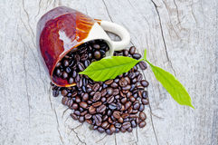 Coffee beans. On wooden surface Royalty Free Stock Image