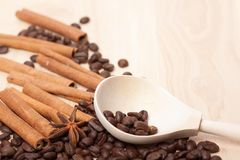 Coffee beans on wooden surface Stock Image