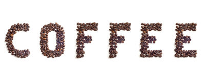 Coffee beans. Coffee word made of coffee beans stock images