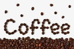 Coffee beans. The word `coffee` written with coffee beans Royalty Free Stock Image