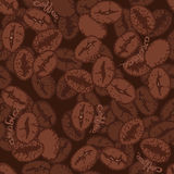 Coffee beans with words. Hand drawn seamless pattern Royalty Free Stock Photo