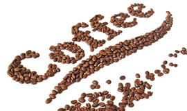 Coffee beans written. The word coffee written by coffee beans Stock Photos
