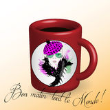 Coffee. Beautiful girl drawn on a cup Royalty Free Stock Images