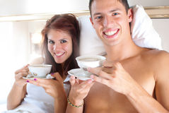Coffee in bed Royalty Free Stock Image
