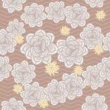 Coffee beige echeveria roses and chevron seamless pattern. stock illustration