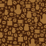Coffee beige seamless pattern on brown background Stock Image