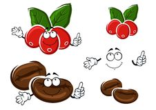 Coffee berries and beans cartoon characters Stock Photography