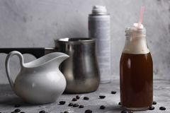 Coffee beverage. In a glass stone background Royalty Free Stock Images