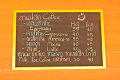 Coffee and beverage menu on wall Royalty Free Stock Photo