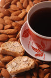 Coffee with biscotti on almond background Royalty Free Stock Photography