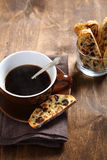 Coffee and biscotti on the boards Stock Image