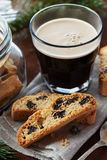 Coffee with biscotti or cantucci on wooden vintage table, traditional Italian biscuit Royalty Free Stock Photos