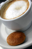 Coffee and Biscuit 1. Coffee in white cup and single biscuit Stock Images