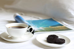 Coffee and Biscuit and magarzine Stock Photography