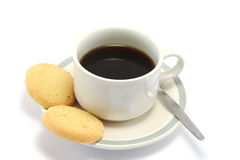 Coffee and Biscuits. Cup of black coffee with 2 shortbread biscuits on the side Royalty Free Stock Images