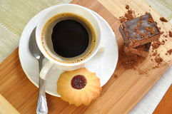 coffee with biscuits and cake Stock Image