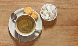 Coffee and biscuits on table from above Royalty Free Stock Photos