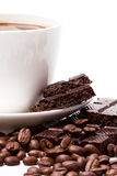 Coffee and black chocolate Stock Images