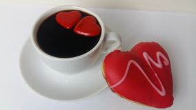 Coffee black cook cooking cup drink food white love sweet heart donut bakery custard food. Coffee black red white heart hearts two cup drink food white love Royalty Free Stock Photos