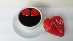 Coffee black cook cooking cup drink food white love sweet heart donut bakery custard food. Coffee black red white heart hearts two cup drink food white love Stock Photo